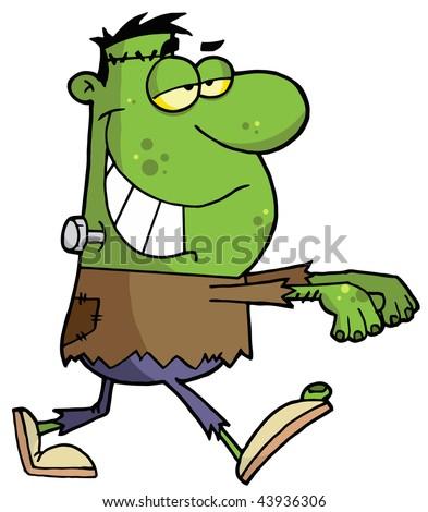 Cartoon character halloween frankenstein - stock vector