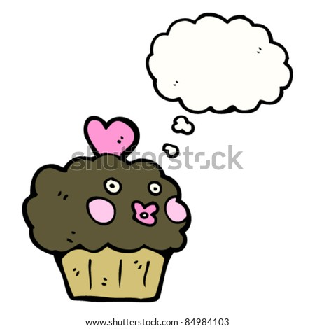 cartoon chocolate muffin with thought bubble