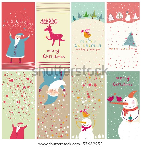 8 cartoon Christmas banners - stock vector