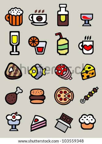 20 cartoon food and drink icons on grey background