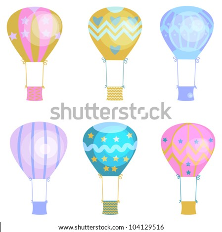 6 cartoon hot air balloons