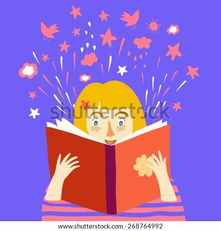 Cartoon little girl reading big book. Vector illustration. - stock vector