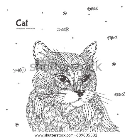 Cat Colouring Hand Drawn With Ethnic Floral Pattern Coloring Page