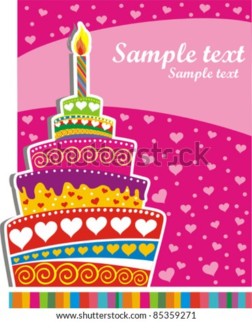 Celebration background with Birthday cake and place for your text. vector illustration