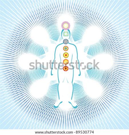 7 chakras in the body - stock vector