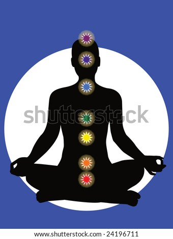 7 chakras in the body - vector - stock vector