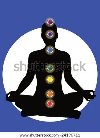 7 chakras in the body - vector - stock vector