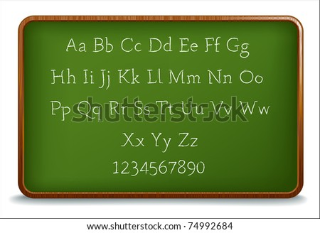 Chalk Alphabet on a wooden blackboard - stock vector
