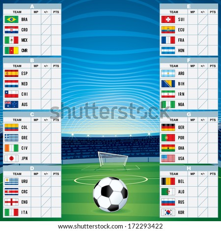 2014 Championship Table. Vector Template - stock vector