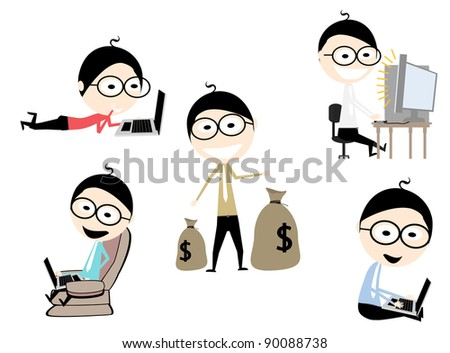 5 characters a business using a laptop and carrying sacks containing the money - stock vector