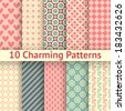 10 Charming different vector seamless patterns (tiling). Sweet pink, blue and lemon cream colors. Endless texture can be used for printing onto fabric and paper. Heart, flower and dot shape. - stock photo
