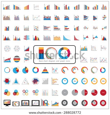 100 charts diagrams and business graphs icons set. - stock vector