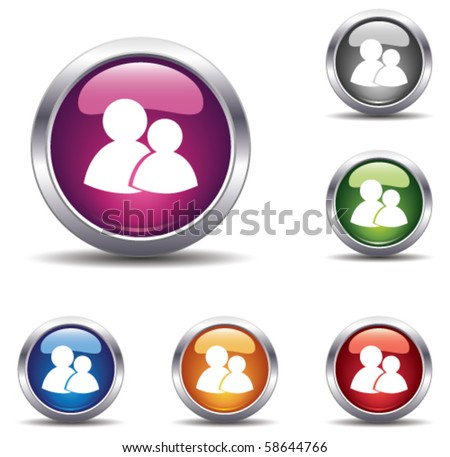 chatting button - stock vector