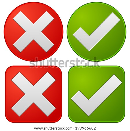 Check mark and cross - stock vector