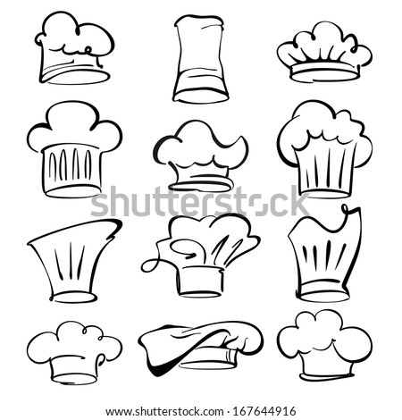 chef hats collection  cartoon vector  illustration - stock vector