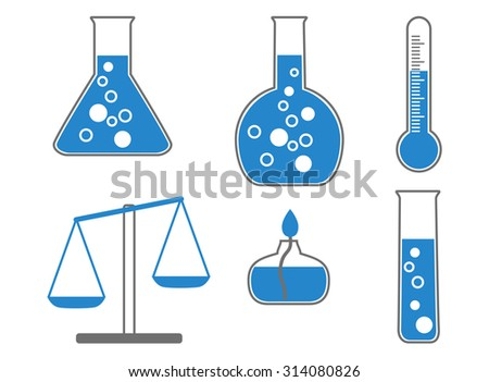 Chemical icons, illustration. vector - stock vector
