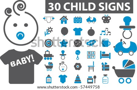 30 child & baby signs. vector - stock vector