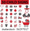 30 child signs. vector - stock vector