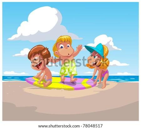 Children on a beach - stock vector