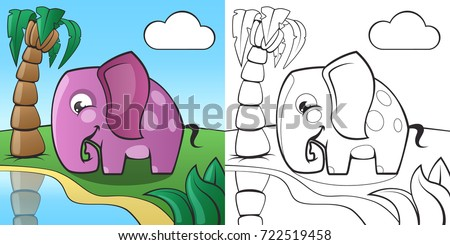 Childrens Coloring Book Cute Cartoon Elephant And African Nature EPS10