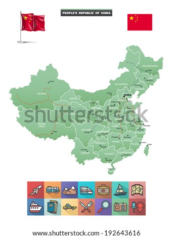 China map and travel icons. Eps10. - stock vector
