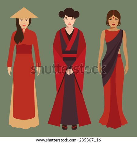 chinese, japanese and indian women, asian people, traditional culture  - stock vector