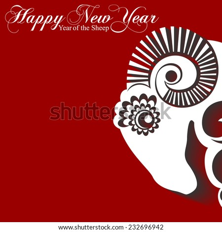 2015 Chinese New Year of the Sheep. Sheep paper with shadow on a red background. Vector file organized in layers for easy editing.  - stock vector