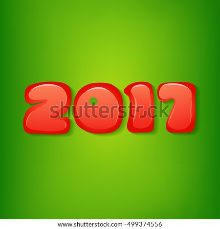 2017 Christmas  Background. 2017 Numbers  on Green Background. Vector Illustration.