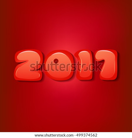 2017 Christmas  Background. 2017 Numbers  on Red Background. Vector Illustration.