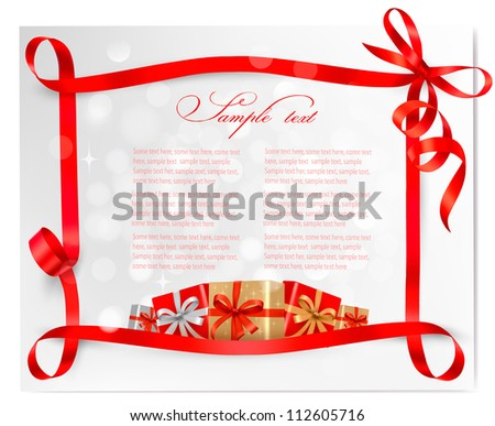 Christmas background with red gift bow with gift boxes. Vector - stock vector