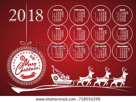 2018 Christmas Calendar Reindeer Sleigh Gifts Stock Vector
