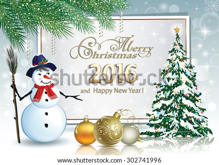 2016 Christmas card with a snowman and Christmas tree. - stock vector