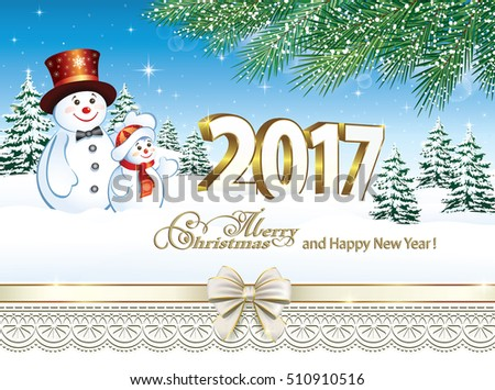 2017 Christmas card with a snowman on the background of nature and fir branches
