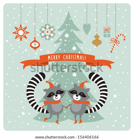 Christmas card with two raccoons - stock vector