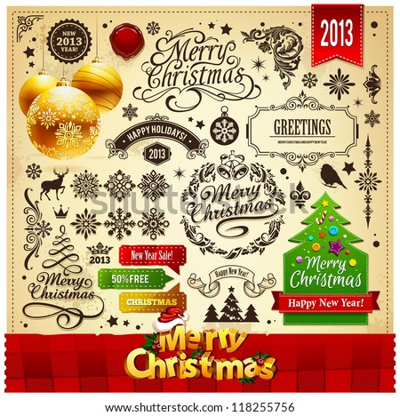 Christmas decoration vector elements set.