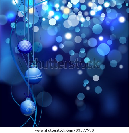 Christmas defocus lights with balls. - stock vector
