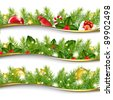 3 Christmas Garlands, Vector Illustration - stock vector