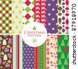 12 Christmas patterns - stock vector