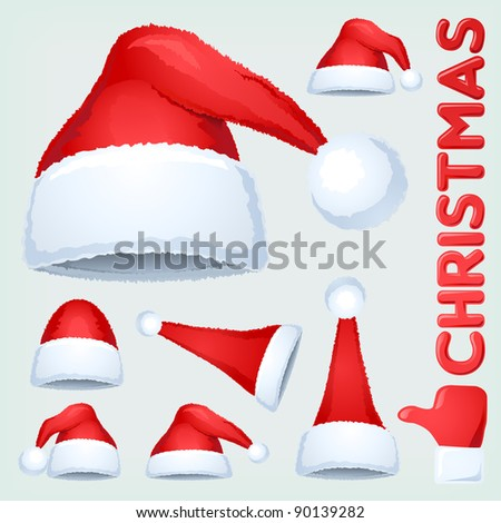 Christmas Santa Claus hat collection. Detailed vector illustration. Visit profile to see more stuff