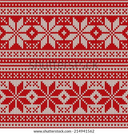 Christmas seamless pattern ornament on the wool knitted texture. Vector illustration - stock vector