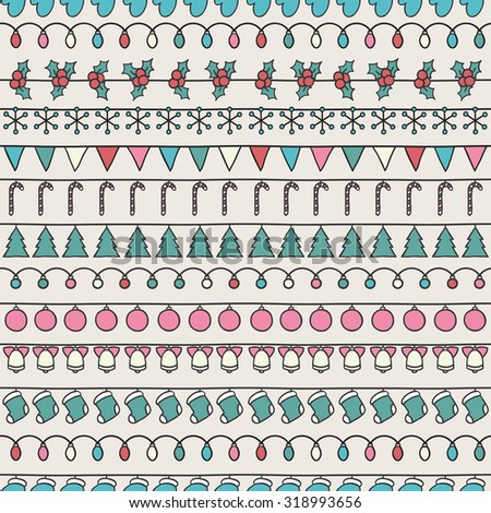 2016 Christmas season hand drawn vector seamless pattern. Sketch scribble winter design graphic element. New Year tiling texture for design. Illustration. Doodle style. Scrapbook decorations. - stock vector