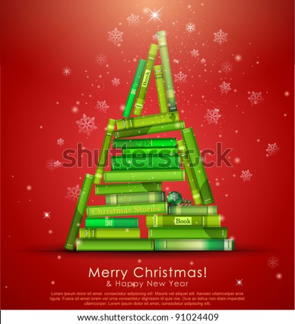 """Christmas Stories Collection"". Christmas tree formed from books. Vector Illustration. - stock vector"