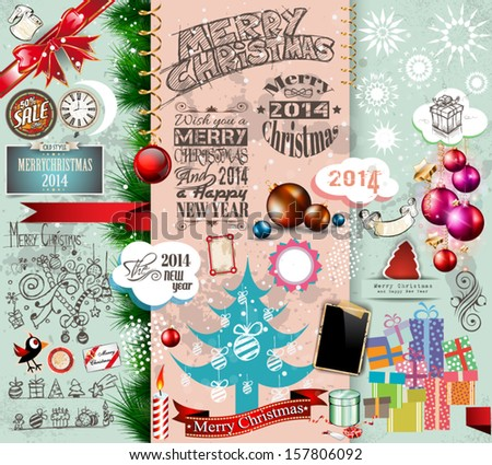 2014 Christmas Vintage typograph design elements: vintage labels. ribbons, stickers, baubles and gift boxes, birds, liquid drops, swirls and so on. - stock vector