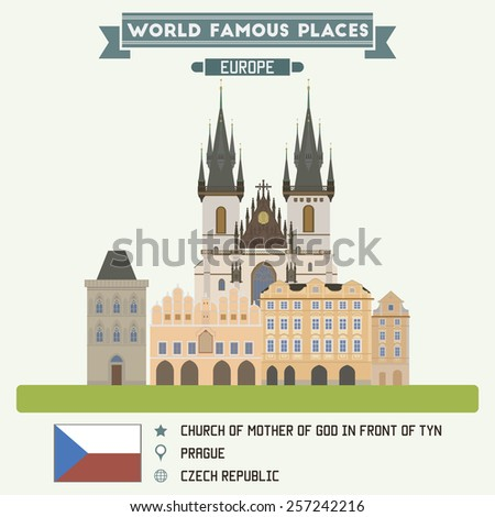 Church of Mother Of God in Front of Tyn. Prague, Czech Republic - stock vector