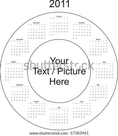 2011 circular design calendar - stock vector
