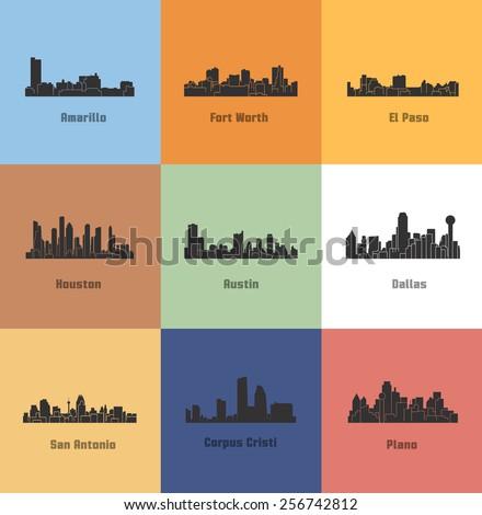 9 Cities of Texas ( Amarillo, Fort Worth, El Paso, Houston, Austin, Dallas, San Antonio, Plano, Corpus Cristi ) - stock vector