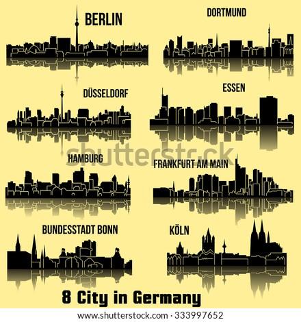 8 city in Germany, Deutschland ( Berlin, Hamburg, Essen, Dusseldorf, Dortmund, Frankfurt am Main, Bonn, Koln ) - stock vector