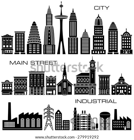 24 City, Main Street and Industrial Buildings icon set - stock vector
