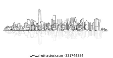 City panoramic skyline view. City scene architectural buildings vector sketch. Urban cityscape.  - stock vector