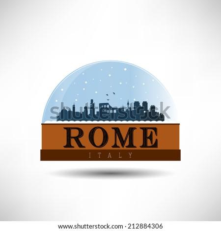 city skyline silhouette in snow globe. Vector design. - stock vector